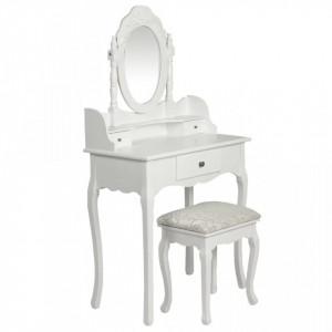 Masa de toaleta cu oglinda si taburet, alb - V60558V