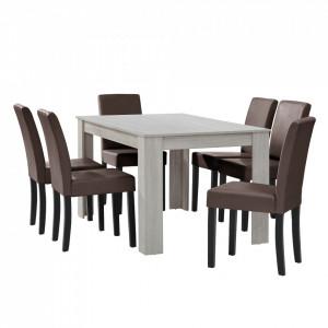 Masa eleganta Olimpia, MDF efect stejar - alb, stejar, 140 x 90 cm - cu 6 scaune imitatie de piele, maro cu picioare negru - P51966323