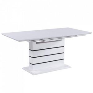 Masă extensibilă de bucătărie, alb strălucitor HG, MEDAN