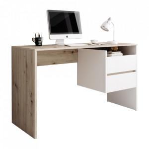 Masă PC, stejar artisan/alb mat, TULIO
