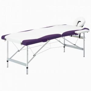 Masa pliabila de masaj, 2 zone, alb si violet, aluminiu - V110233V