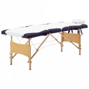 Masa pliabila de masaj, 4 zone, alb si violet, lemn - V110225V