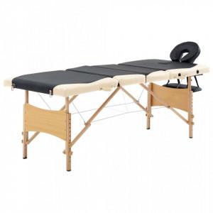 Masa pliabila de masaj, 4 zone, negru si bej, lemn - V110221V