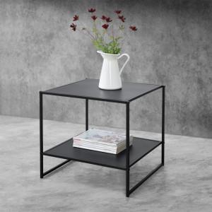 Masuta-noptiera Dona, 51 x 53 x 51 cm, metal, negru mat, cu polita depozitare - P68870786