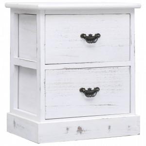 Noptiera, alb, 38 x 28 x 45 cm, lemn de paulownia - V284060V