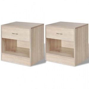 Noptiera cu sertar, 2 buc, culoare stejar - V242546V