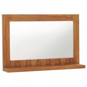 Oglinda de perete cu raft, 60x12x40 cm, lemn masiv de tec - V289071V