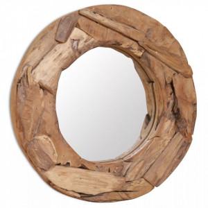 Oglinda decorativa Lemn de tec 60 cm Rotunda - V244560V