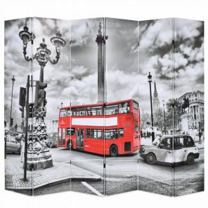 Paravan camera pliabil, 228x170 cm, imprimeu autobuz, negru/alb - V245876V