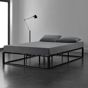 Pat Anastasia, rama metalica, 180 x 200 cm, negru, cu gratar, rezistent la uzura, fara saltea, pentru 2 persoane - P64042689