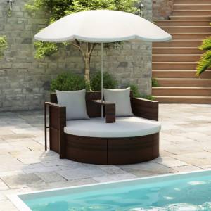 Pat de gradina cu umbrela de soare, maro, poliratan - V40734V