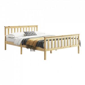 Pat lemn Breda 160NH, 209 x168 x 80 cm, lemn brad/PAL, culoarea lemnului,200 Kg, dublu, fara saltea - P72021426