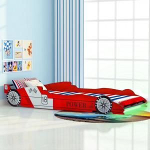 Pat pentru copii masina de curse, cu LED, 90 x 200 cm, rosu - V243936V