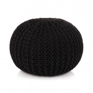 Puf tricotat manual, bumbac, 50 x 35 cm, negru - V245071V