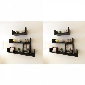 Rafturi de perete, 6 buc., negru - V275989V
