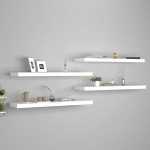 Rafturi de perete suspendate, 4 buc., alb, 90x23,5x3,8 cm, MDF - V323819V