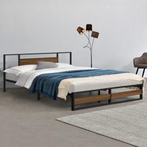 Rama pat metalica Villach180, 209 x 184 x 85,5 cm, otel sinterizat, 300 Kg, negru/efect lemn de nuc, pentru 2 persoane - P71470635