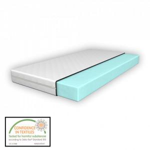 Saltea spuma rece, 90 x 200 x 11 cm, cu husa matlasata cu fermoar, grosime 1 cm, asigura protectie impotriva lichidelor, alb - P64851197