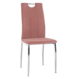Scaun de masă, ţesătură de catifea roz / crom, OLIVA NEW