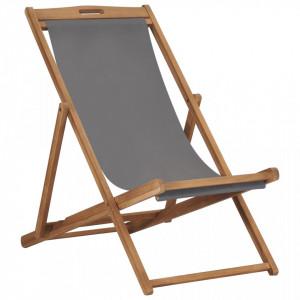 Scaun de plaja pliabil, gri, lemn masiv de tec - V47415V