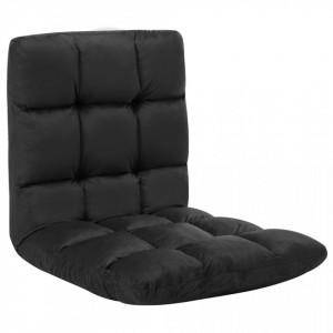 Scaun de podea pliabil, negru, microfibra - V325256V
