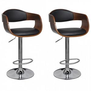 Scaune de bar, 2 buc., negru, lemn curbat si piele ecologica - V3052716V