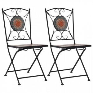 Scaune de bistro cu mozaic, 2 buc., portocaliu/gri - V46718V