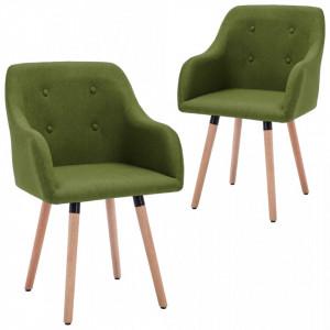Scaune de bucatarie, 2 buc., verde, material textil - V322986V