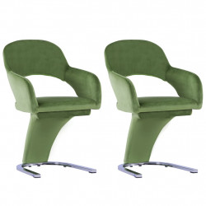 Scaune de sufragerie, 2 buc., verde, catifea - V287776V