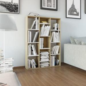 Separator camera/Biblioteca, alb si stejar, 100x24x140 cm, PAL - V800446V