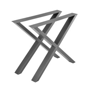 Set 2 bucati picioare masa in forma X, 79 x 72 cm, metal, gri metal - P57353533