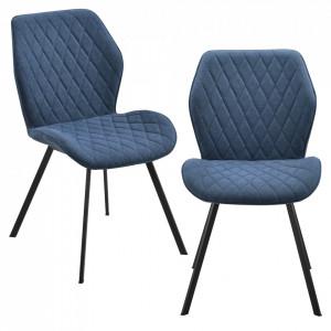Set 2 bucati scaune design Sarpsborg DB, , 89 x 51 x 64 cm, metal/poliester, albastru inchis - P71742137