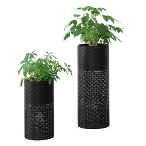 Set 2 bucati suport flori Virton, metal/negru, masuri diferite - P73583780