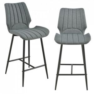 Set 2 scaune bar Noni 1, 102,5 x 46,5 cm, metal/poliester, gri inchis - P58025653
