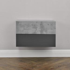 Set 2 x comoda suspendata cu 2 sertare Model 9, MDF, 46 x 30 x 15 cm, efect beton/gri inchis - P56253879