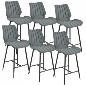 Set 6 bucati scaune bar Planica New, 102,5 x 46,5 cm, poliester/metal, gri inchis - P58616401
