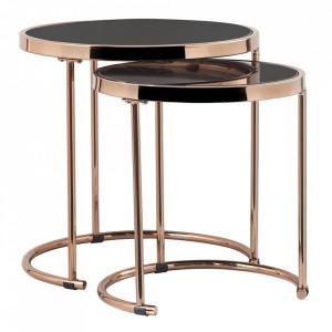 Set de 2 măsuţe de cafea, auriu roz roz crom / negru, MORINO