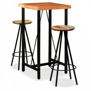 Set de bar, 3 piese, lemn masiv de acacia si lemn reciclat - V275128V