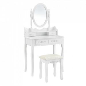 Set Diva masa de toaleta/machiaj cu oglinda si scaun , masa 75 x 75 x 40 cm, scaun 45 x 37 x 28 cm, MDF, alb cu 4 sertare pentru depozitare - P57827233