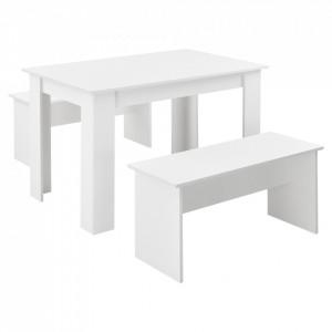 Set masa cu banci Hokksund W, , 110 x 70 x 73 cm, PAL/melamina, alb, pentru 4 persoane - P71736453