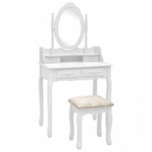 Set masa de toaleta cu taburet alb 75x69x140 cm lemn paulownia - V289314V