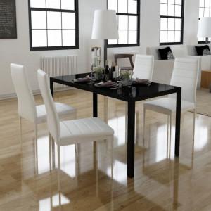 Set masa si scaune de bucatarie, cinci piese, negru - V242989V