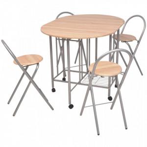 Set masa si scaune de bucatarie pliabile din MDF, 5 piese - V243901V