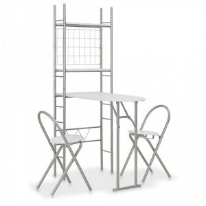 Set mobilier bucatarie cu depozitare, 3 piese, alb, MDF si otel - V284403V
