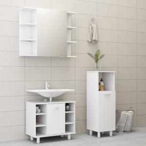 Set mobilier de baie, 3 piese, alb, PAL - V3056943V