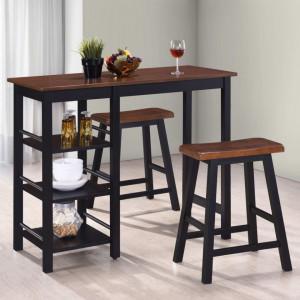Set mobilier de bar, 3 piese, MDF, negru - V245363V