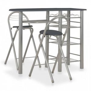 Set mobilier de bar, cu rafturi, 3 piese, negru, lemn si otel - V284400V