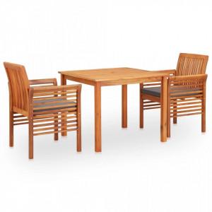 Set mobilier de exterior cu perne 3 piese, lemn masiv de acacia - V278901V