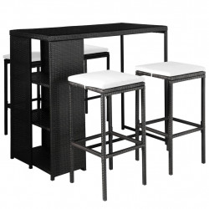 Set mobilier de exterior cu perne, 5 piese, negru, poliratan - V44177V
