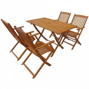 Set mobilier de exterior pliabil, 5 piese, lemn masiv de acacia - V44056V
